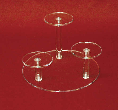 """2-1//4/"""" 1-1//2/"""" H Set of 3 Clear Acrylic Round Cylinder Display Riser Stands 3/"""""""