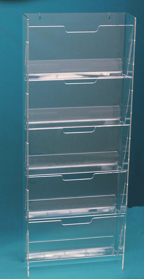 newspaper rack 1. ITEM# STYLE POCKETS H W D PRICE NPR5 WALL MOUNT 1 ROW OF 5 31 16 1/2 6 1/4 $214 Newspaper Rack